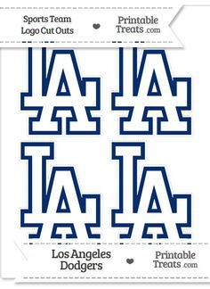 Small Los Angeles Dodgers Logo Cut Outs from PrintableTreats.com