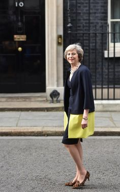Theresa May in Amanda Wakeley