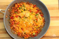 Southwestern Chicken and Rice Skillet - Mom vs the Boys
