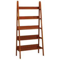 "$179  30""W x 64""H  Home Decorators Collection Torrence 30 in. W 5-Shelf Dark Walnut Ladder Bookshelf - 2853710860 - The Home Depot"