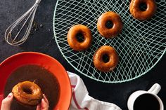 Apple Cider Doughnuts with Cider-Caramel Glaze. I tried these and they came out so good. Perfect for autumn or when you have a gallon jar of apple cider sitting around.