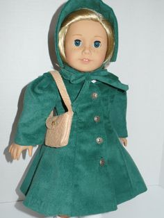 Reduced Price Winter Coat, Hat, and Shoulder Bag for Kit, Ruthie, Molly or Nellie and Most 18Inch Dolls'r