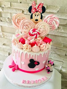 Mini Mouse Birthday Cake, Baby Girl Birthday Cake, Pretty Birthday Cakes, Mickey Mouse Clubhouse Birthday, Minnie Birthday, First Birthday Cakes, Cake Baby, 3rd Birthday, Birthday Ideas