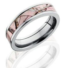 Flat Profile Realtree AP Pink Wedding Ring