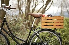 Charming Crate for Your Bike - http://etsy.me/WoodBikeBasket
