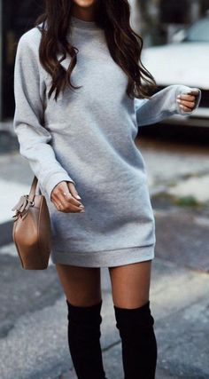 #outfit #ideas ·  Sweatshirt Dress // Shoulder Bag // Knee Length Boots