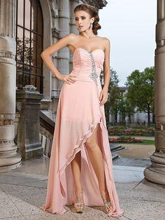 Prom / Formal Evening Dress - Pearl Pink Plus Sizes / Petite Sheath/Column Sweetheart / Strapless Asymmetrical / Short/Mini Chiffon - USD $ 99.99