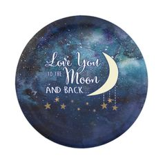 Love You to the Moon & Back Paper Plates #partyplates #paperplates #zazzle #wedding #birthday #retirement #babyshower #anniversary