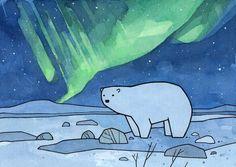 Polar Bear and Northern Lights, Childrens Illustration Art Print - studio tuesday