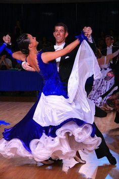 Stunning blue and white ballroom dress. Love it!