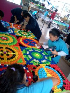Creating the bottle top mural