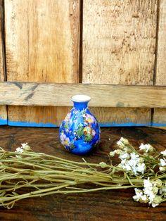 Dark Blue Antique Porcelain mini Vase. Blue Antique miniature