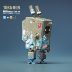 Shibuya Tora-Kun Urban Camo Set Of Robot Characters, by Malcolm Tween, ArtStation / Such fun & Games with Techie Characters / Via ArtStation