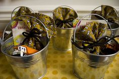 Fabulous favours - buckets of construction-themed goodies