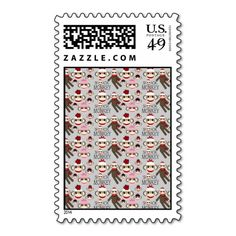 Cute Red and Pink Sock Monkeys Collage Pattern Postage Stamp