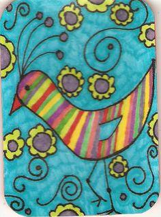 Bird art.  Love the rainbow of colors art inspir, rainbow bird, quilt, color, silli bird, goofi bird, bird art