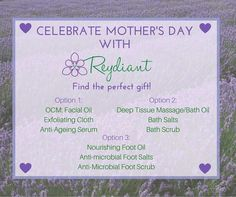 Reydiant Mother's Day Pamper Pack Options! Email info@reydiant.com to order! While stocks last! Deep Tissue, Anti Aging Serum, Facial Oil, Natural Products, Bath Salts, Day, Bath Scrub, Bath Soak
