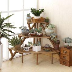Three layers of solid wood corner flower shelf multilayer floor type flower bonsai antique white balcony garden #Affiliate