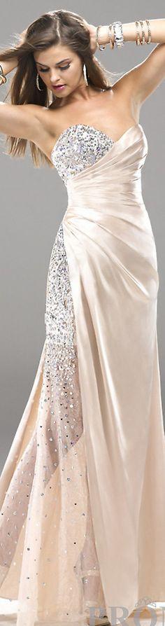 Formal long dress #strapless #nude #glitter