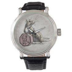 Shop Year of the Rat Chinese Zodiac Art Wrist Watch created by critterwings.