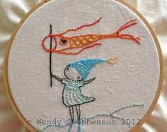 Cute embroidery of koi kite and little girl