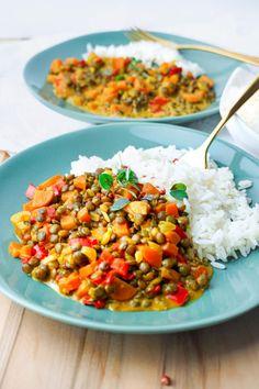 Linsen Dal Rezept - Gesundes und veganes Fitness Gericht Vegan Comfort Food, Curry, Chana Masala, Low Carb, Meal Prep, Chili, Detox, Dinner Recipes, Food And Drink