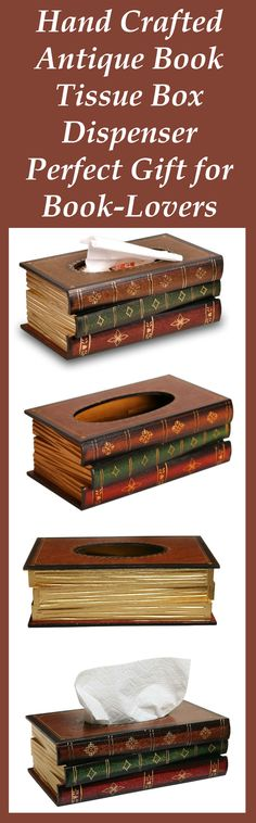Hand-made Antique Book Tissue Box Dispenser is the perfect gift for a book lover. Cleverly conceived & shaped like a stack of three antique books. #antique #retro #books  #booklover #bookworm #home_decor   #vintage #reader #readers #retro #antique #gift #gifts