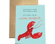 Lobster Birthday Card/ It's Okay to be a Little Shellfish / Funny Birthday Card / Nautical Birthday / Red Lobster Card / Punny Birthday Card