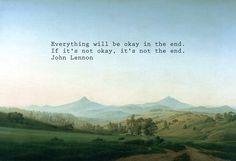 Caspar David Friedrich-Böhmische Landschaft mit dem Milleschauer mit Worten von John Lennon