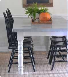 Dining Table Makeover with DIY Zinc Tabletop {Ballard Designs inspired} Who wants to help me do this?