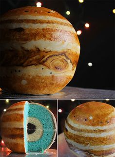 Planet Cake Recipe- the inner nerd in me loves this idea! Wish I had a planet cake growing up! Food Cakes, Cupcake Cakes, Jupiter Cake, Bolo Original, Bolo Diy, Planet Cake, Bolo Cake, Diy Cake, Creative Cakes