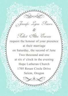 """Vintage Tiffany Blue Wedding Invitations with Free RSVP Cards and Envelopes//Use coupon code """"rpin"""" to get 10% off towards all the invitations. #elegantweddinginvites #tiffanyblueweddingideas #weddinginvitations"""
