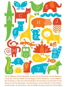 OHHHH i love this print of the alphabet and its quirky animals!!