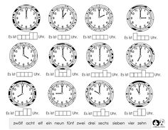 time woksheet german
