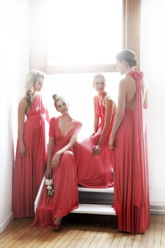 Coral Ballgowns | twobirds Bridesmaid multiway, convertible wrap dresses