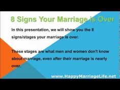 When a marriage is over signs