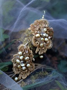 Renaissance earrings-- asymmetric earrings, shabby chic, romantic lightweight bohemian earrings, hand beaded
