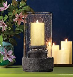 NEW Harmony Fountain. Stone-look resin, bubble glass sleeve, glass votive cup, electrical cord/pump. In glass cup: votive, tealight; Without cup: pillar, Essential jar, tealight, large tealight. Available Dec. 18. #PartyLite