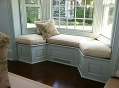 Country Window Seat Cushion Custom made window seats cushions with measure and install service available or place your order online. Tips on how to measure & more. This window seat cushions for bay wi #countryfurniture