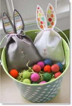 """DIY bunny pouch - Easter craft  I made mine with my touch of felt for the face, thread for the whiskers, and hand sewn with a charm, """"Made with Love"""" <3 https://www.facebook.com/photo.php?fbid=440032442747082=a.401324313284562.95056.401303856619941=3"""