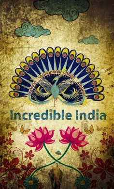 poster with peacock, Incredible India Sri Lanka, Mother India, Amazing India, Incredible India Posters, Bird Logos, Thinking Day, Vintage Travel Posters, Illustrations, Illustration Art