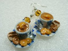 Chocolate Mousse Earrings Polymer clay by GiraffesKiss on Etsy, £7.50