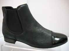 Karston from France. Suede ankle boot with silver toe featrue. Elasticated gusset and heel height. Available in Black/silver suede and Black shimmer. Suede Ankle Boots, Black Silver, Chelsea Boots, Heels, Collection, Fashion, Heel, Moda, Fashion Styles