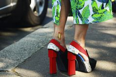 Love all the color. via streetfsn.com  #shoes #green #pattern #colors #heels #cool #PFW #fashion #moda #zapatos