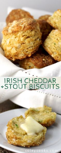 These Irish Cheddar + Stout Biscuits are light, flaky, and perfect for St. Patrick's Day! #Irish #cheddar #beer #stout #guinness #easy #recipe #bread #biscuits #st #patricks #paddy #butter | ColeyCooks.com