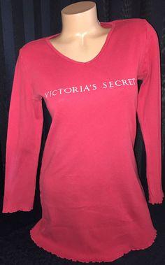 Victoria's Secret Signature Cotton V-Neck Sleepshirt XS X-Small Red Long Sleeve #VictoriasSecret #Sleepshirt