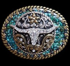 Cowgirl Bling Rhinestone Longhorn and Turquoise Western Belt Buckle  clickincowgirls.com