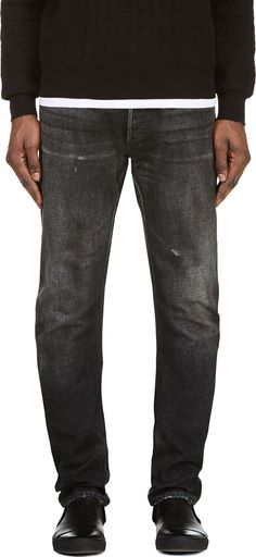 Balmain - Black Faded Slim Jeans