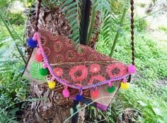 clutch, silkdecorated,brodery,indiantissue,paillettes by weloveboho on Etsy