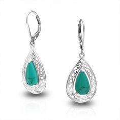 Filigree Teardrop Turquoise Lever Back Earrings 925 Sterling Silver